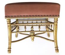 A French Napoleon III carved gilt wood square stool