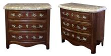A pair of Danish empire style mahogany 3-drawer bow front chests