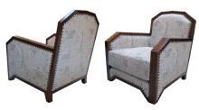 A stylish pair of French art deco mahogany club chairs