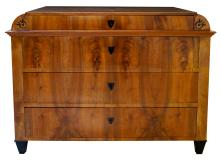 An Austrian biedermeier walnut 4-drawer chest w inlaid decoration