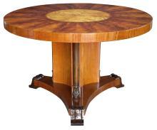 A finely crafted Swedish art deco circular mahogany table