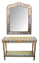 A French Maison Jansen eglomise console table and mirror