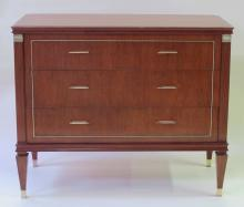 A Stylish French neoclassical style 3-drawer tiger mahogany chest