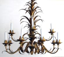 A stylish and large-scaled Italian 1960's 2-tier 12-light gilt-tole foliate chandelier