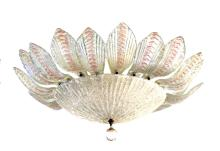 A glamorous and large Murano mid-century clear and blush bullicante art glass pendant light