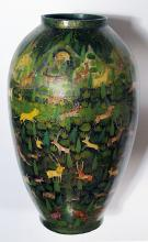 A rare and whimsical Kashmiri lacquered ovoid vase with animal decoration