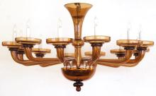 A large and richly-colored Murano 12-light amber glass chandelier