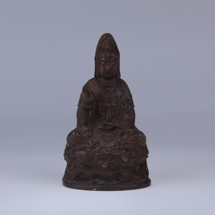 Chinese boxwood carved statue sitting guanyin