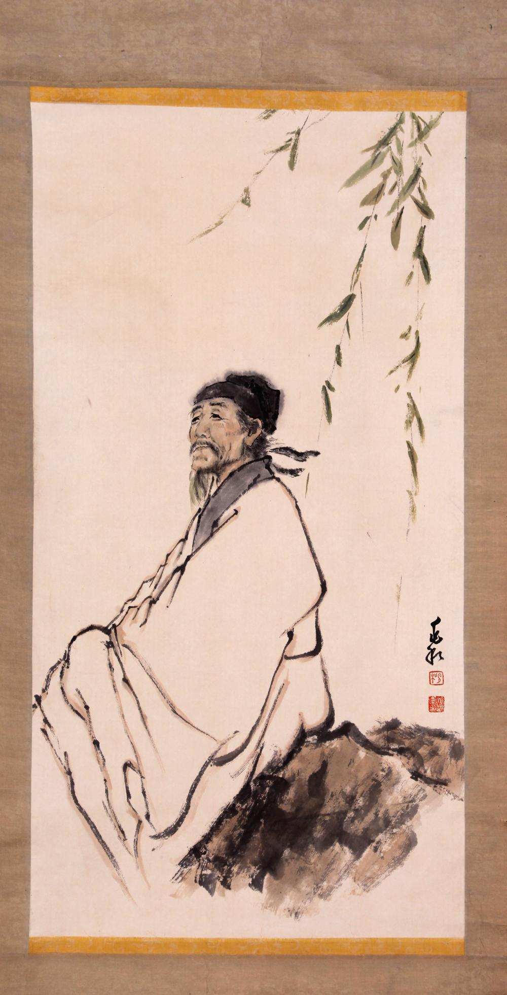 CHINESE PAINTING OF A SCHOLAR SITTING ON A ROCK