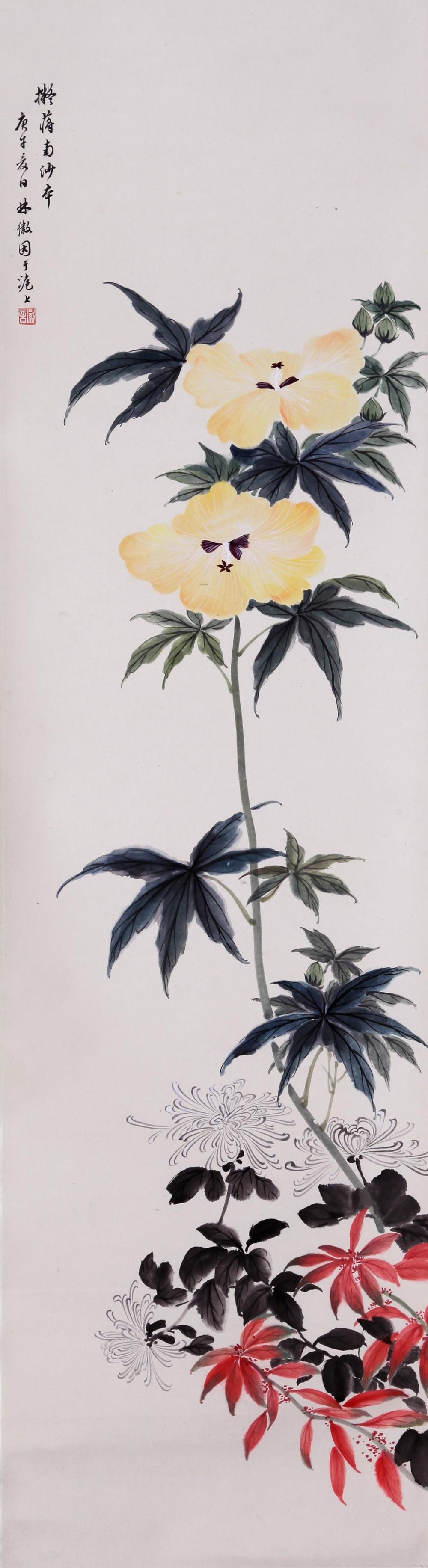 CHINESE INK AND COLOR PAINTING OF FLOWER BLOSSON
