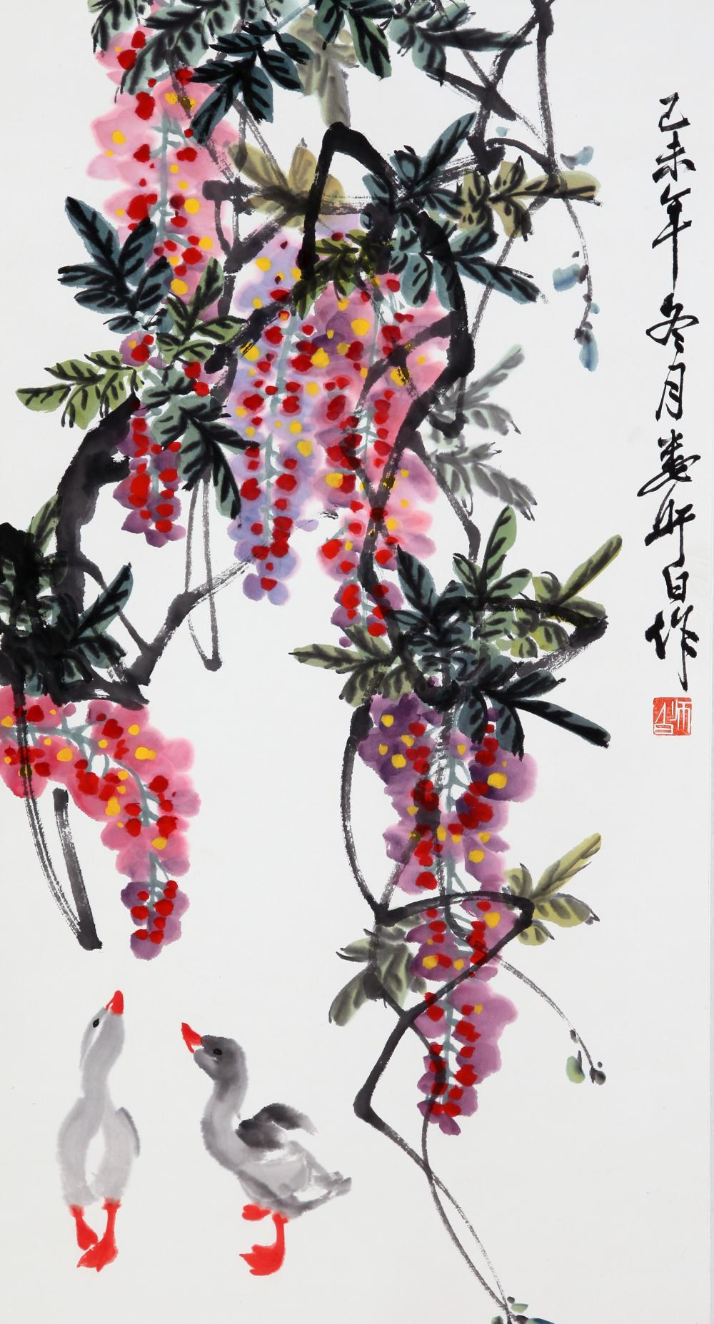 CHINESE PAINTING OF DUCKS UNDER GRAPEVINE