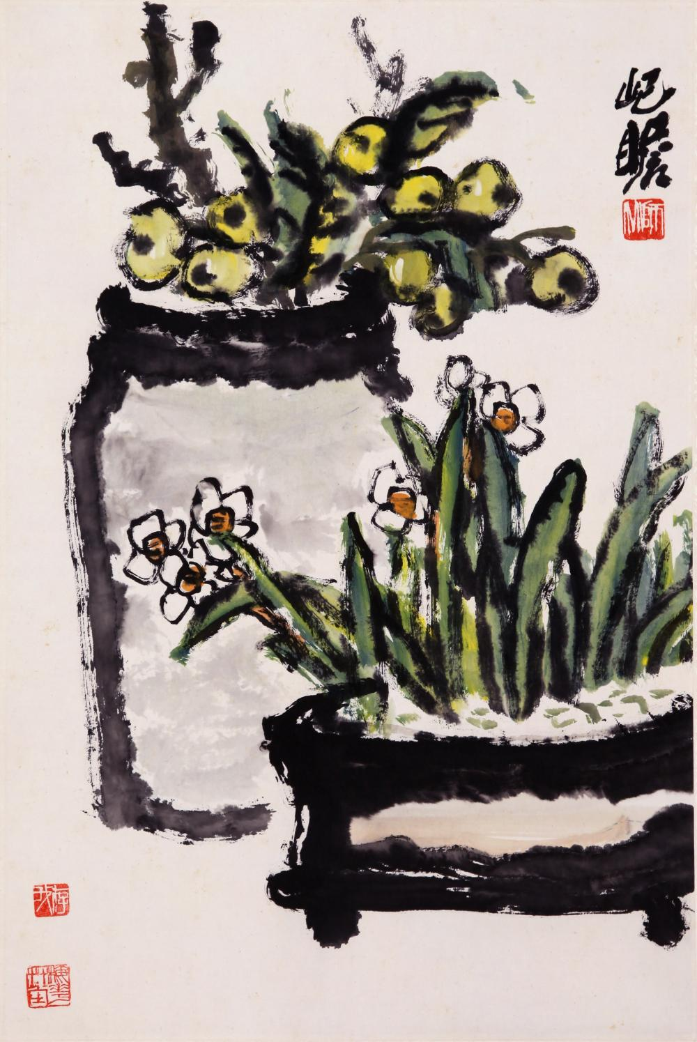 CHINESE INK AND COLOR PAINTING OF HOUSE PLANTS