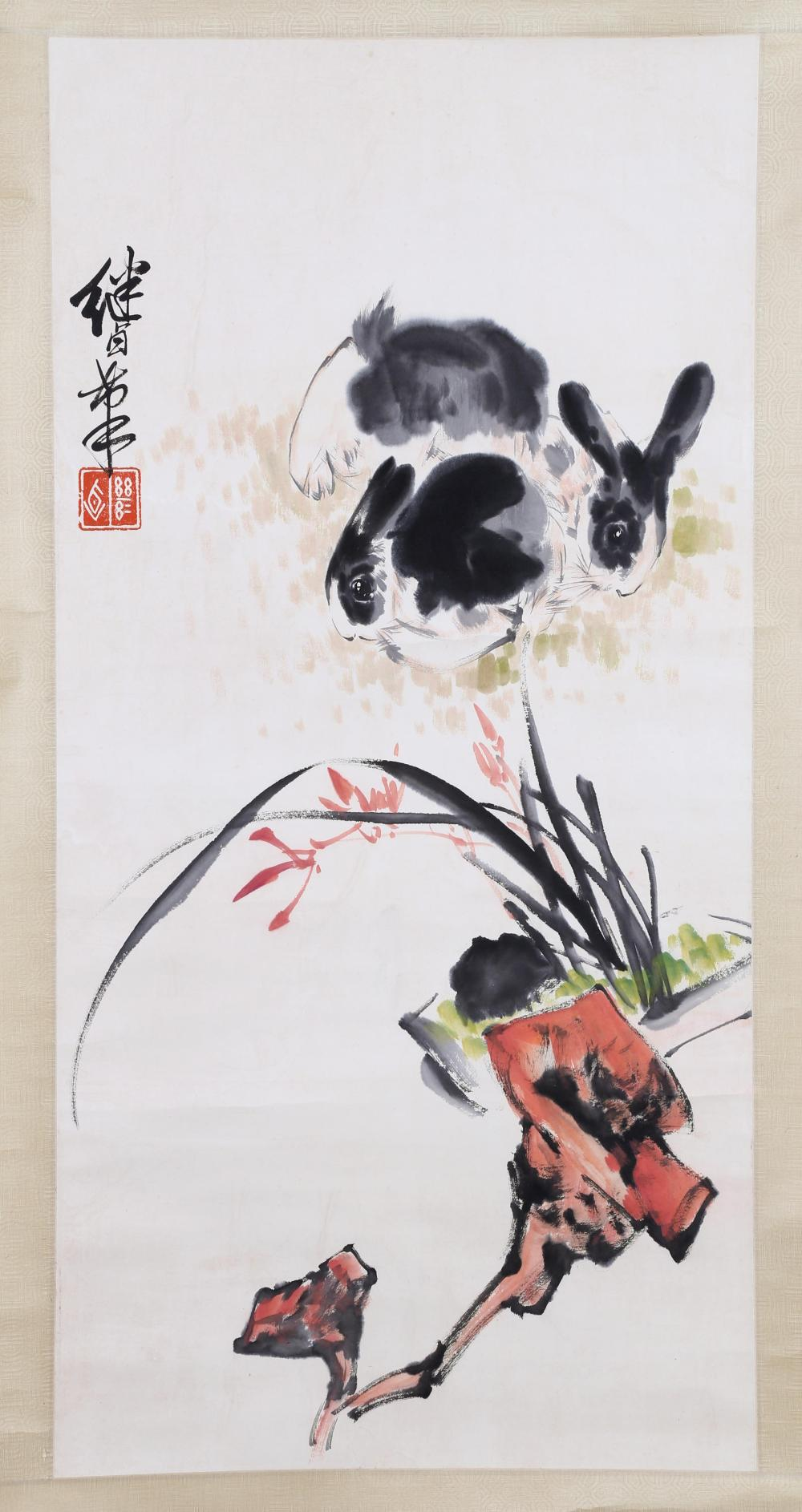 CHINESE INK & COLOR PAINTING  OF RABBITS