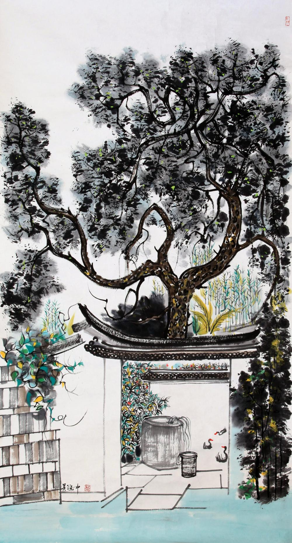 CHINESE PAINTING OF A COURTYARD IN JIANGNAN
