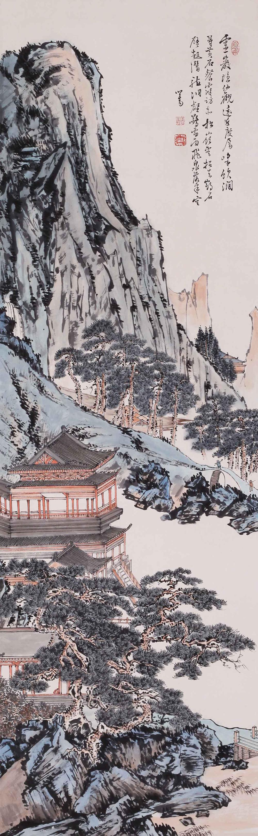 CHINESE INK AND COLOR PAINTING OF LINGYAN MOUNTAIN