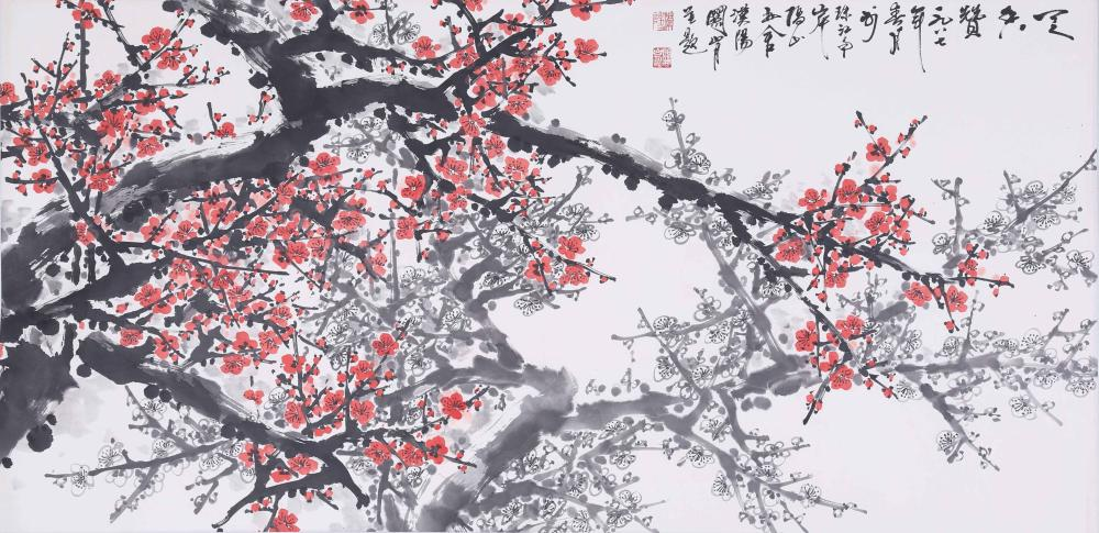 CHINESE INK AND COLOR PAINTING OF PLUM BLOSSOM