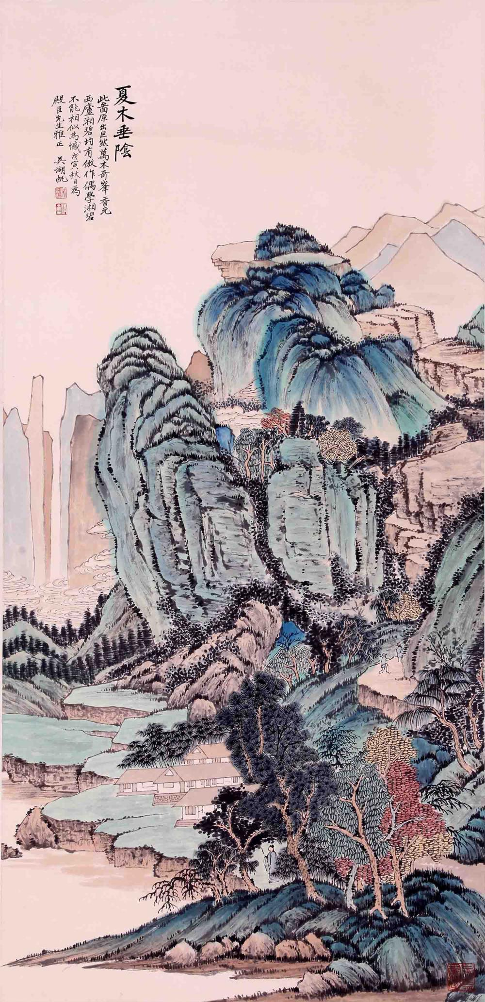 CHINESE INK AND COLOR PAINTING OF SUMMER LANDSCAPE