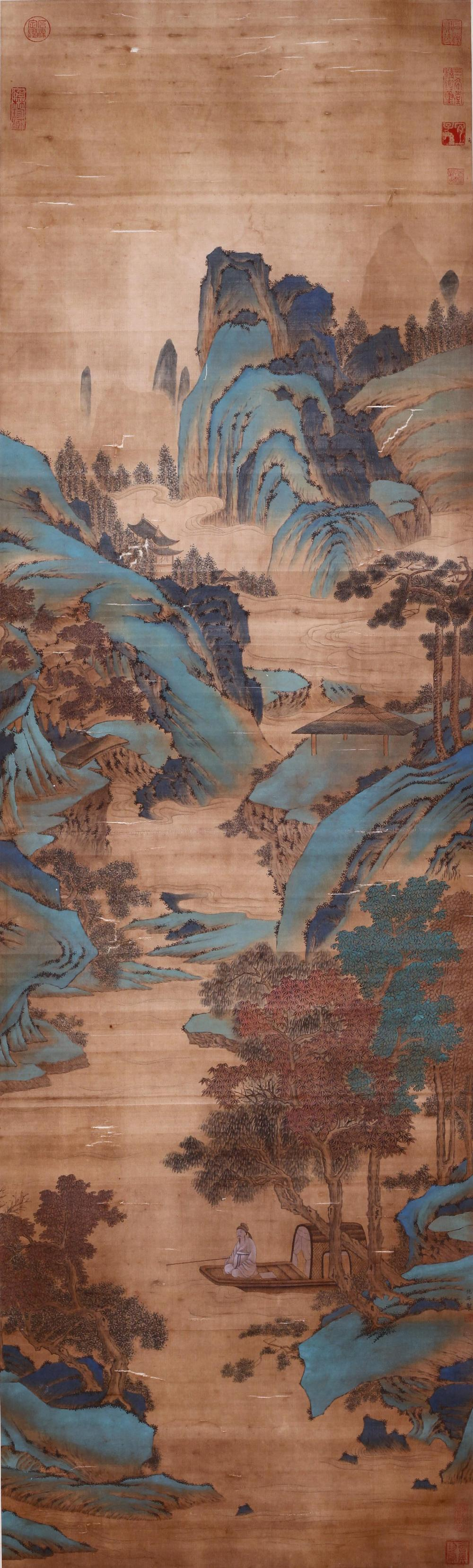 CHINESE PAINTING OF GREEN MOUNTAIN LANDSCAPE