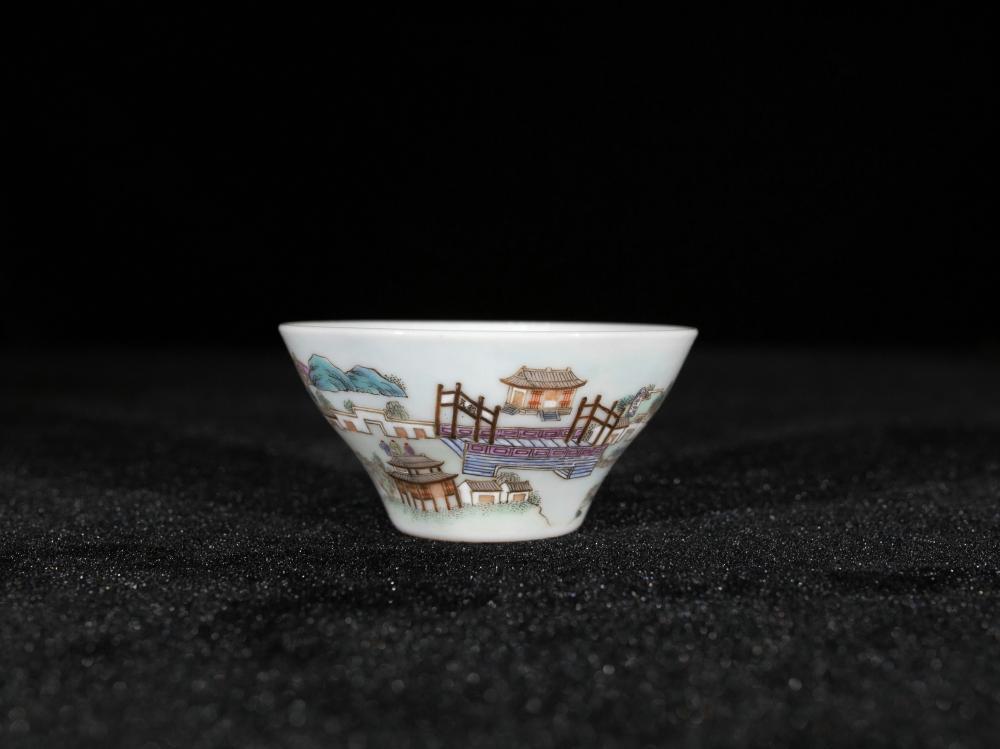 FAMILLE ROSE VILLAGE SCENERY PORCELAIN CUP