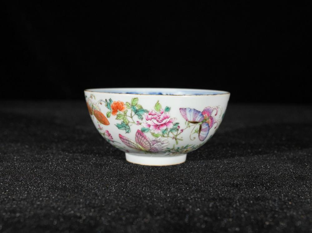 FAMILLE ROSE BUTTERFLY AND FLOWER PORCELAIN BOWL