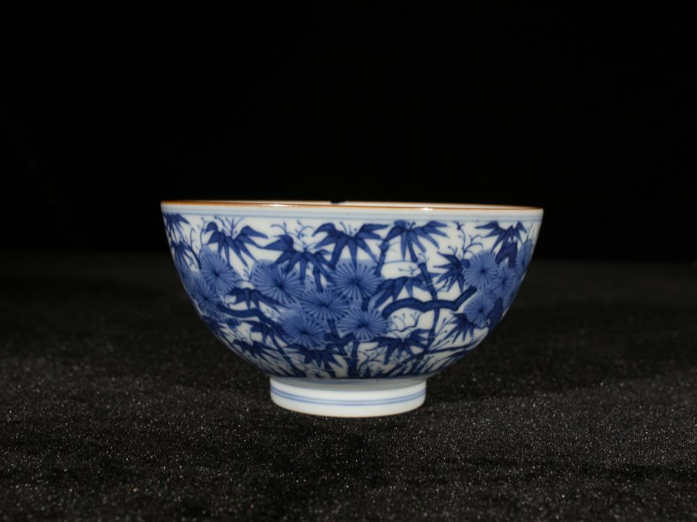 BLUE AND WHITE BAMBOO MOTIF PORCELAIN BOWL