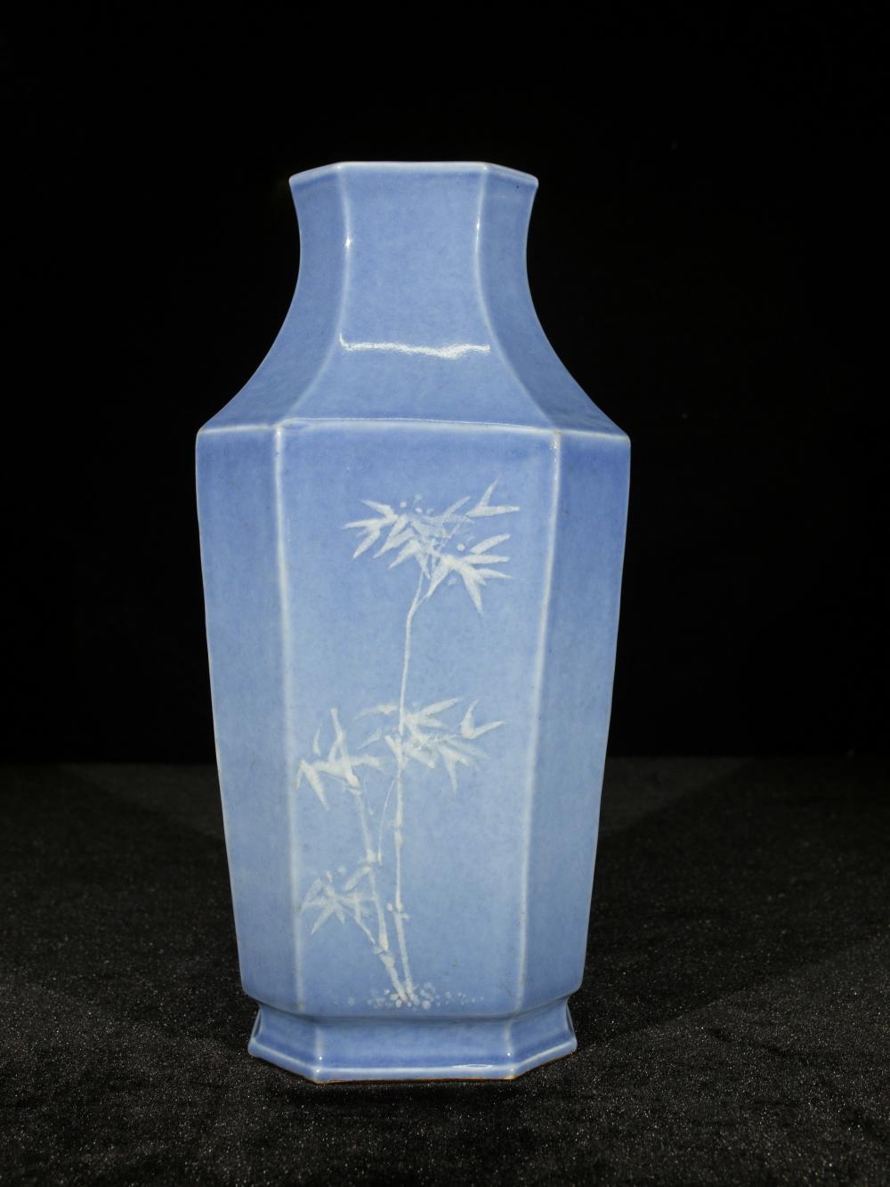 BLUE GLAZED FLORAL OCTAGONAL PORCELAIN VASE