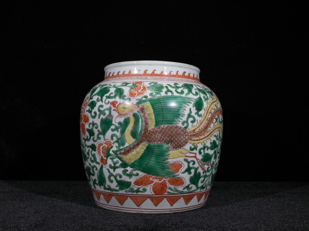 CHINESE WUCAI PHOENIX AND PEONY PORCELAIN JAR
