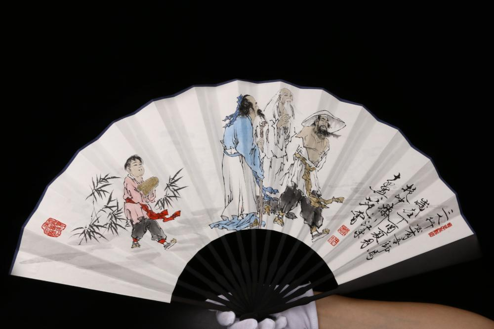 CHINESE FAN PAINTING OF FIGURES AND CALLIGRAPHY