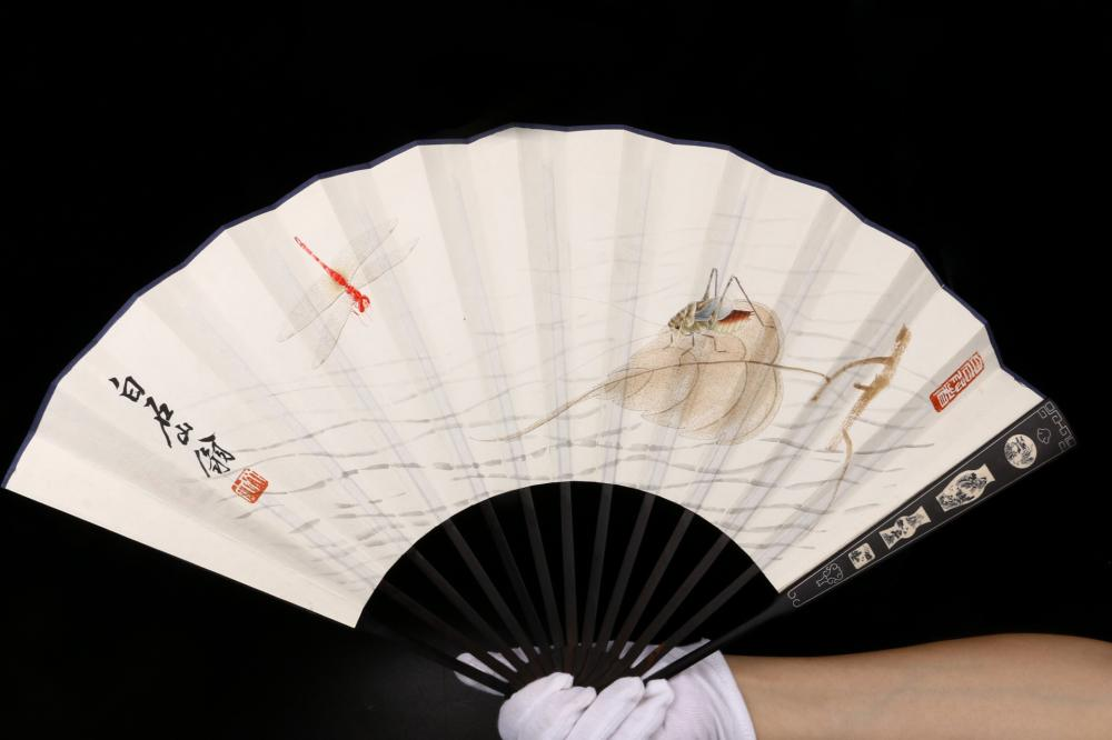 CHINESE FOLDING FAN PAINTING OF LIVELY INSECTS