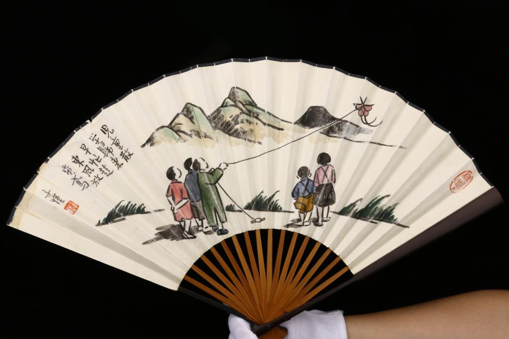 CHINESE FOLDING FAN PAINTING OF KITE FLYING