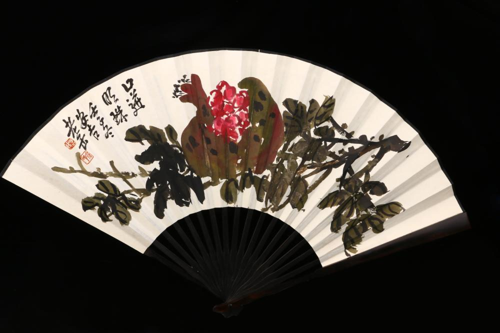 CHINESE FOLDING FAN PAINTING AND CALLIGRAPHY
