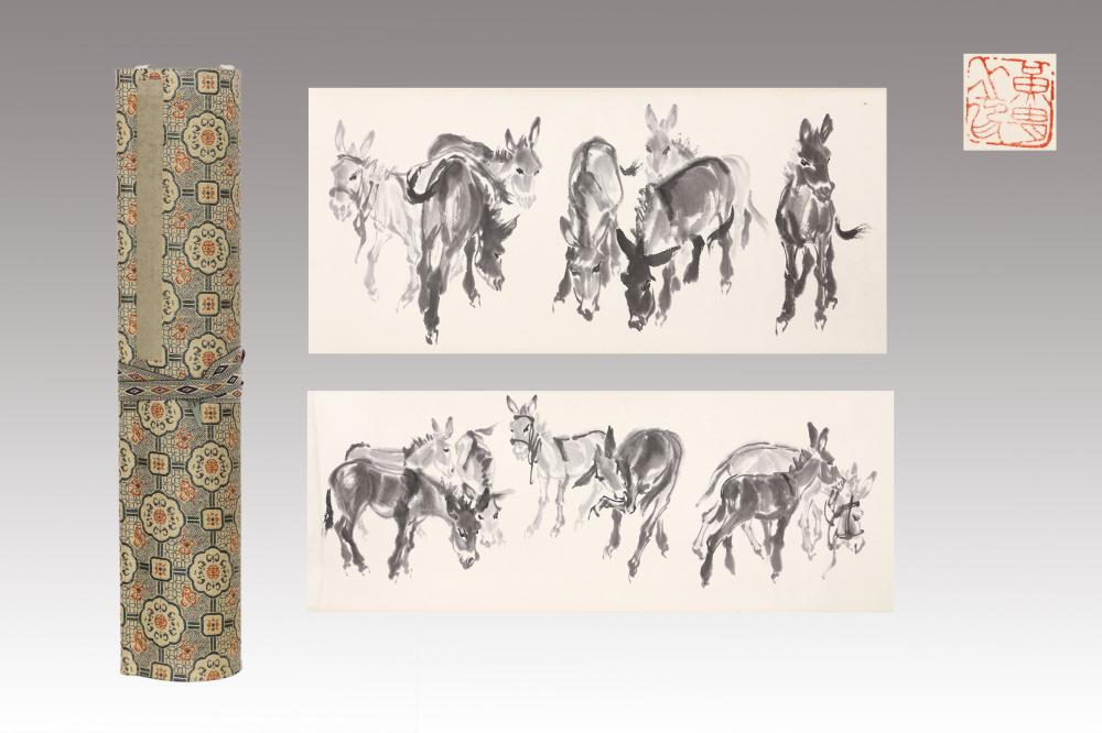 INK HANDSCROLL PAINTING OF A DROVE OF DONKEYS