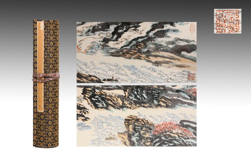 CHINESE HANDSCROLL OF RAGING RIVER LANDSCAPE