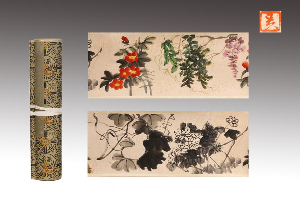 CHINESE INK AND COLOR HANDSCROLL OF FLOWERS