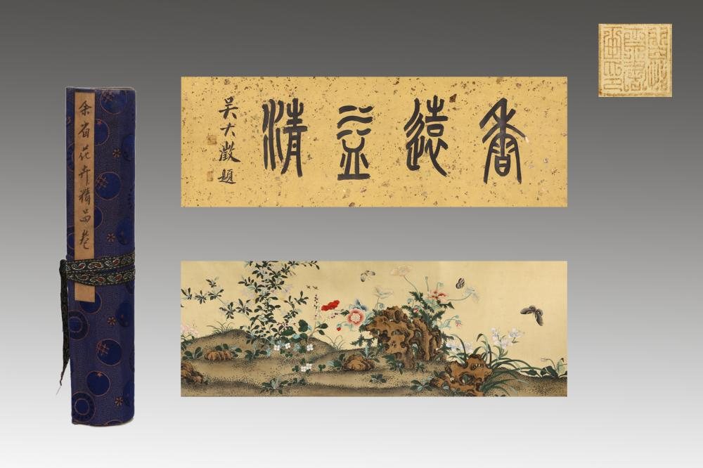 HANDSCROLL PAINTING OF FLOWERS AND BUTTERFLIES
