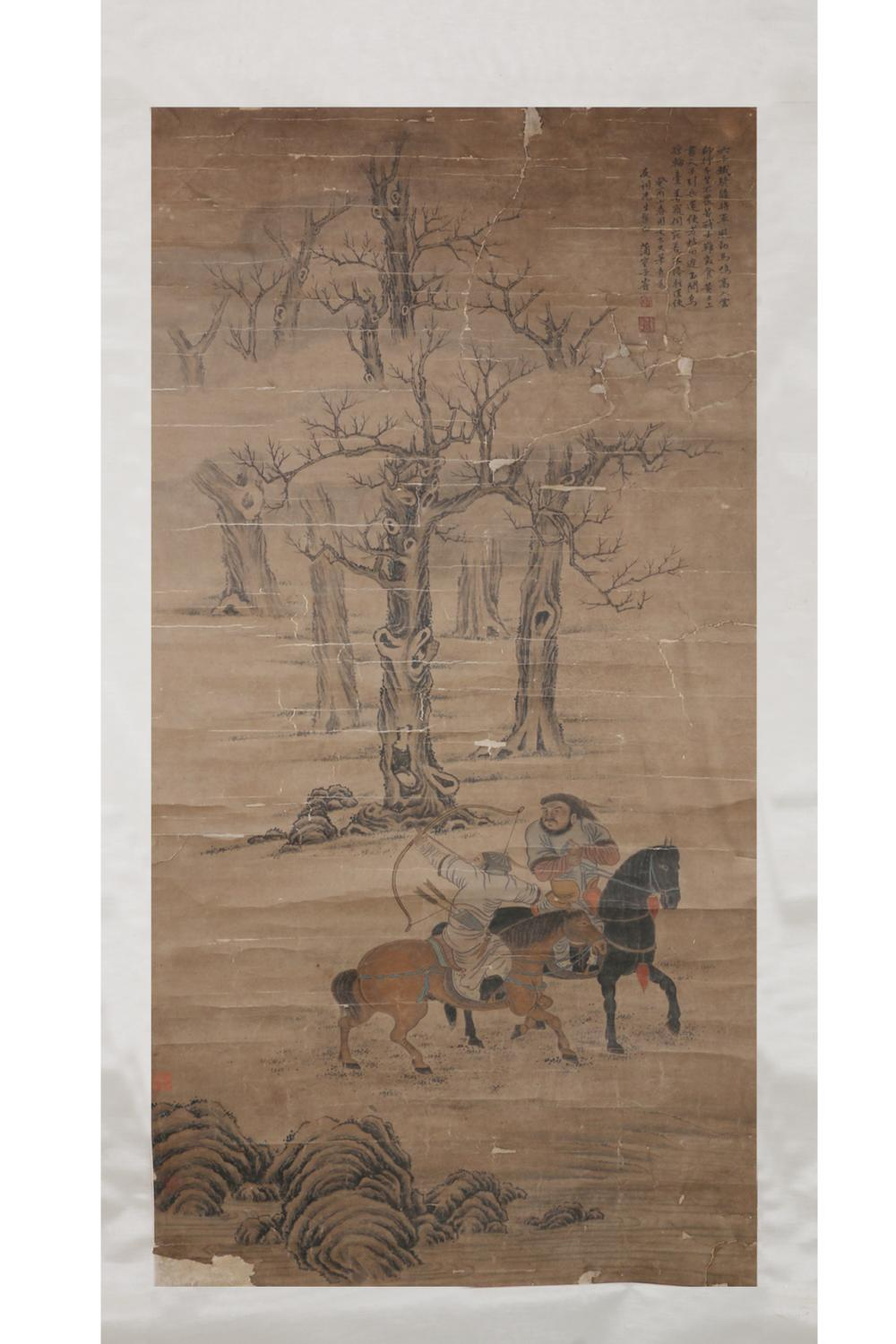 CHINESE PAINTING OF TWO MANCHU MEN HUNTING