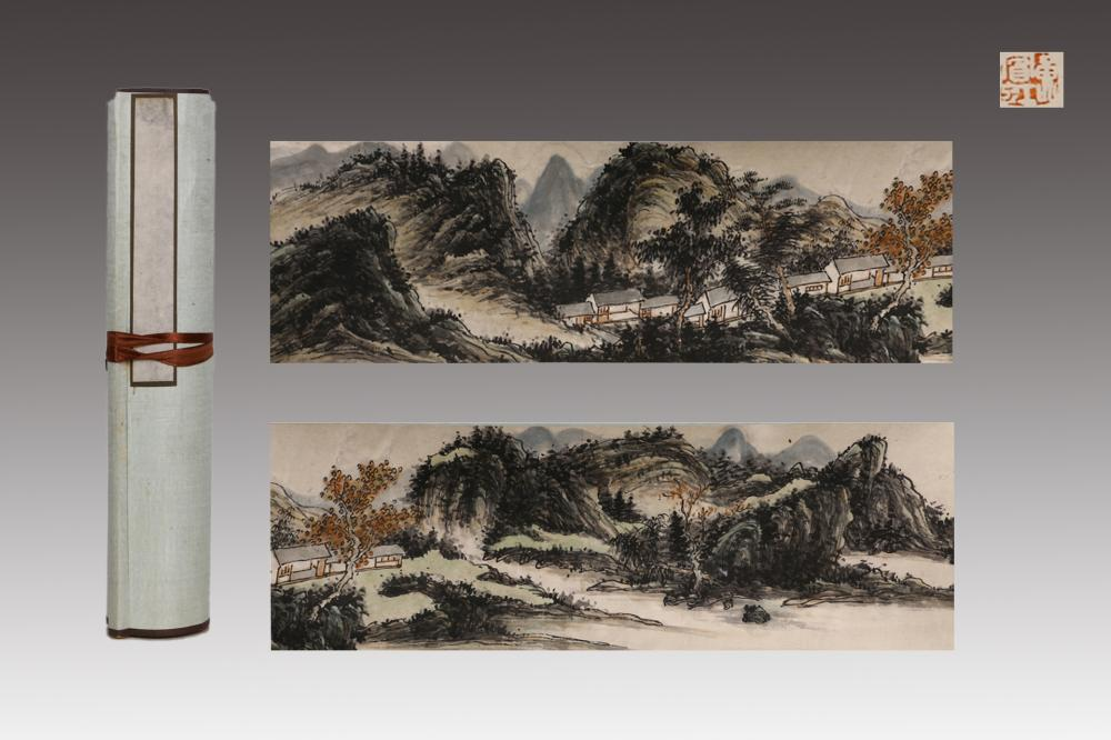 CHINESE HANDSCROLL PAINTING OF A VILLAGE BY LAKE