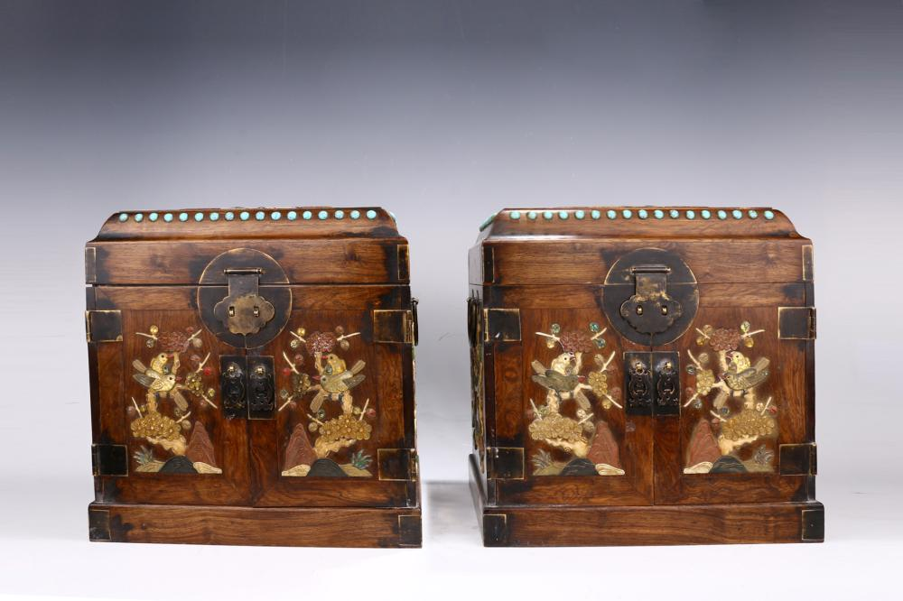 PAIR OF HUANGHUALI WOOD CARVED JEWELLERY BOXES