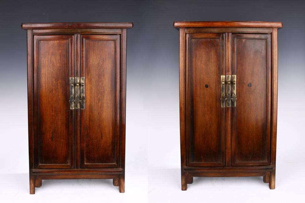 PAIR OF ROSEWOOD CARVED JEWELLERY BOXES