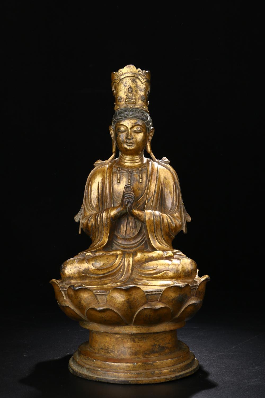 GILT BRONZE SEATED FIGURE OF BUDDHA BODHISATTVA