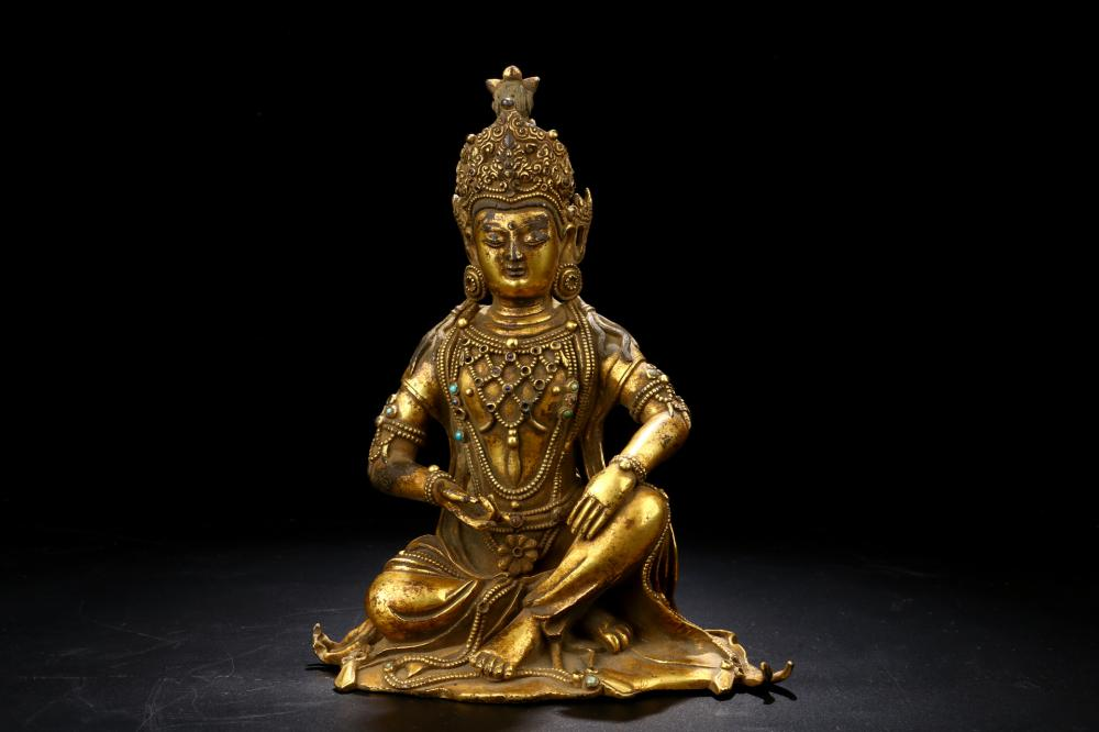 GILT BRONZE SEATED FIGURE OF BUDDHA