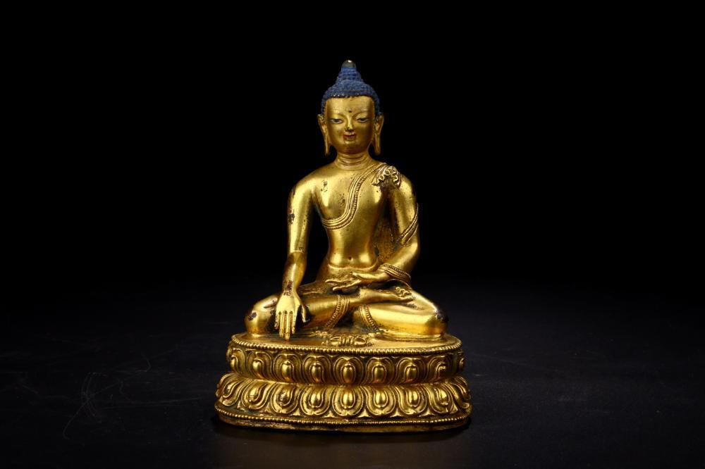 GILT BRONZE FIGURE OF BUDDHA SHAKYAMUNI