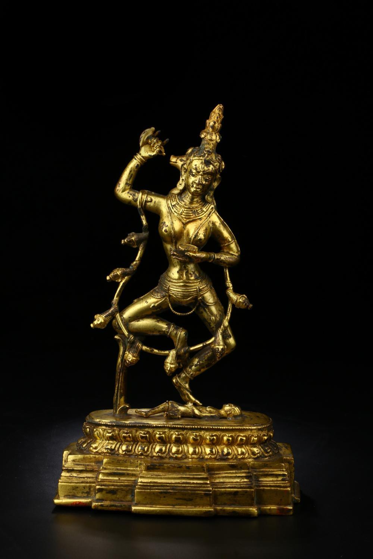 GILT BRONZE FIGURE OF BUDDHA SHIVA