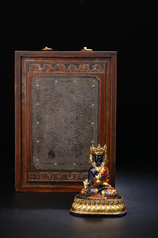 GILT ENAMELLED PEKING GLASS DIZANG KING BUDDHA