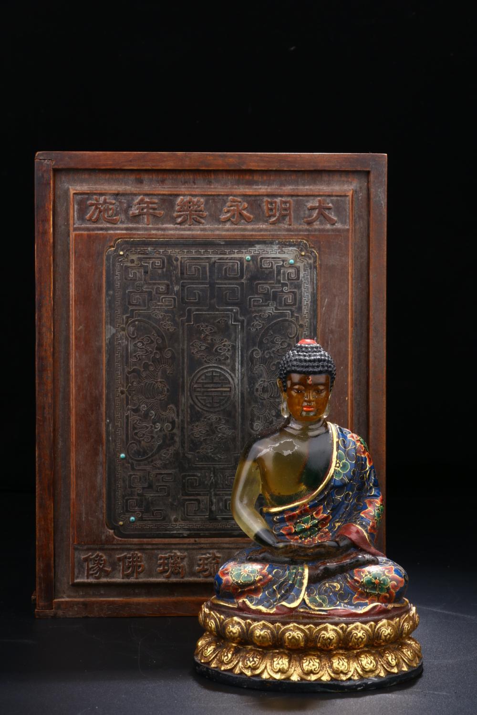 GILT ENAMELLED PEKING GLASS SHAKYAMUNI BUDDHA