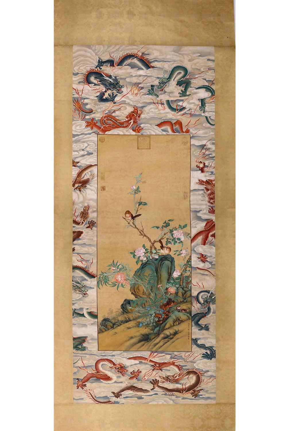 BIRDS AND FLOWERS PAINTING IN DRAGON BACKGROUND