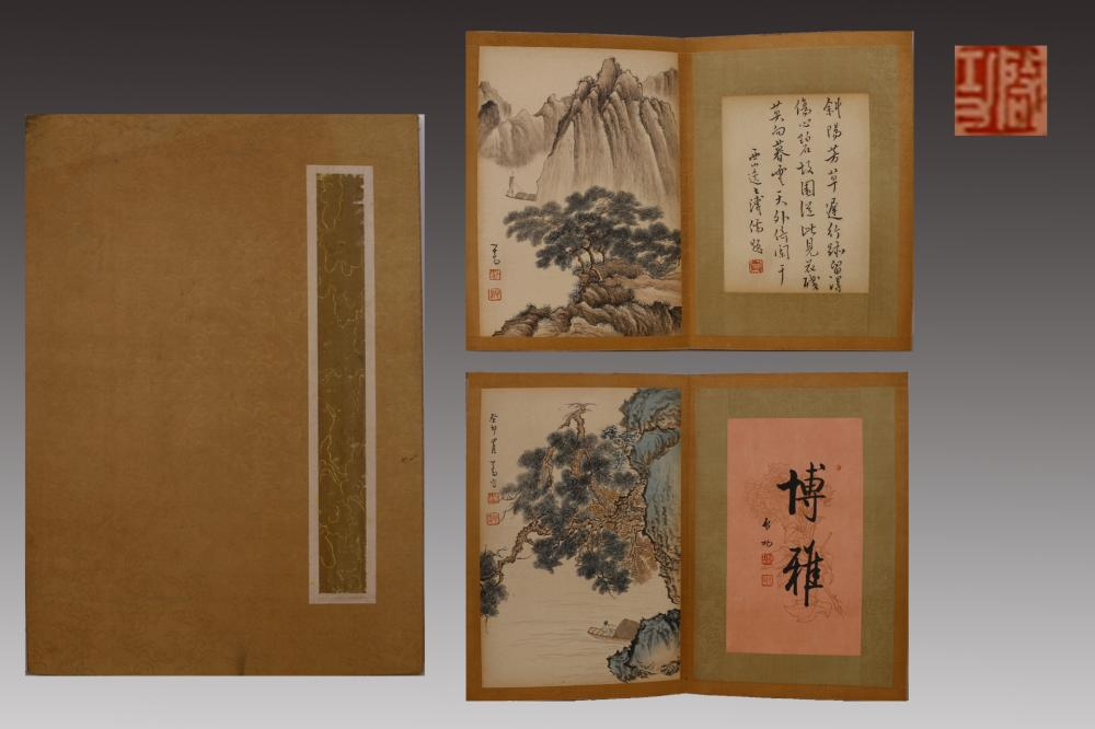 CHINESE INK AND COLOR PAINTING ALBUM OF LANDSCAPE