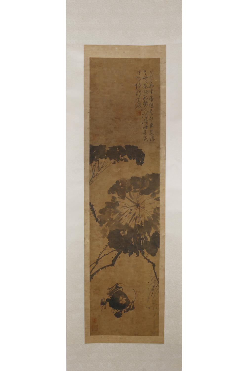 CHINESE INK PAINTING OF LOTUS FLOWER AND A CRAB