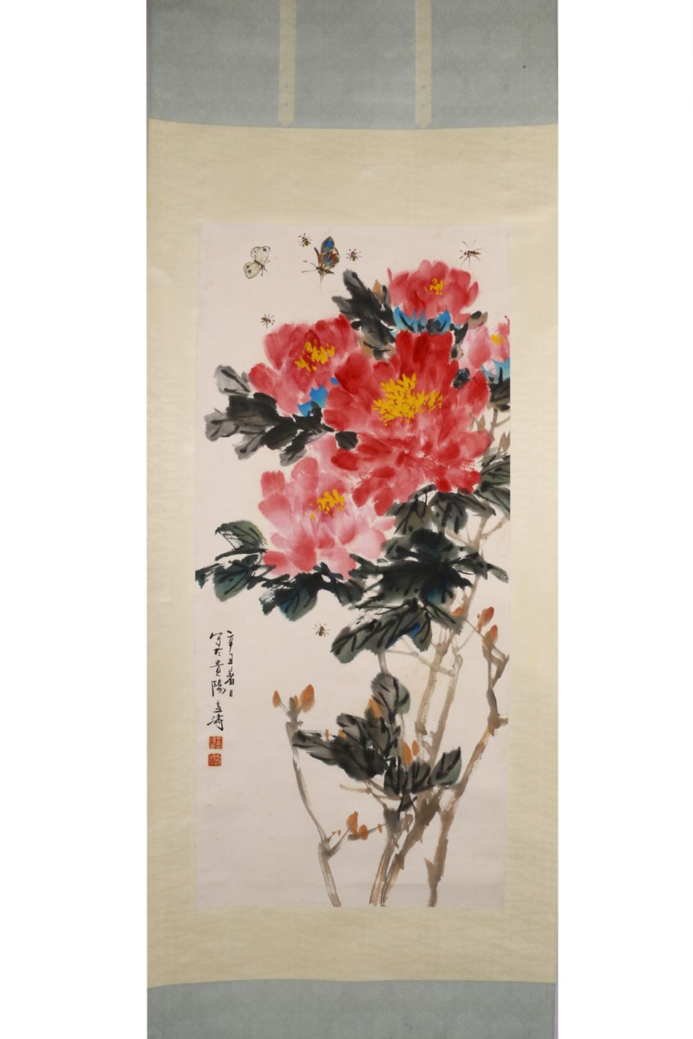 CHINESE INK AND COLOR PAINTING OF FLOWER BLOSSOM