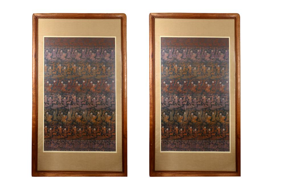 PAIR OF FRAMED SILK EMBROIDERY OF HUNDREAD KIDS